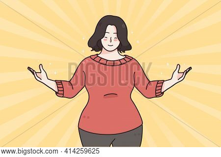 Self Esteem, Confidence, Positive Emotions Concept. Portrait Of Confident, Satisfied And Happy Fat O
