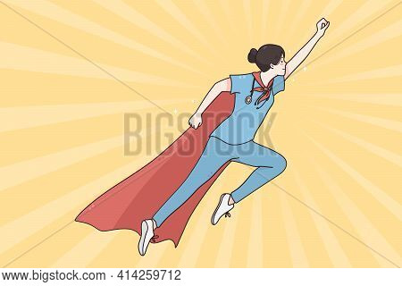 Superhero Doctor In Medicine During Pandemic Concept. Doctor Female Wearing Superhero Cape Flying Up