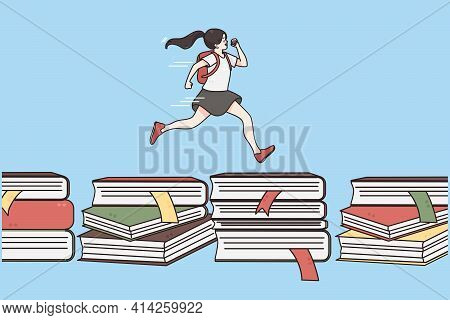 Back To School, Education, Learning Concept. Happy Cute Girl Running On Books Hurry To School Owe Bl