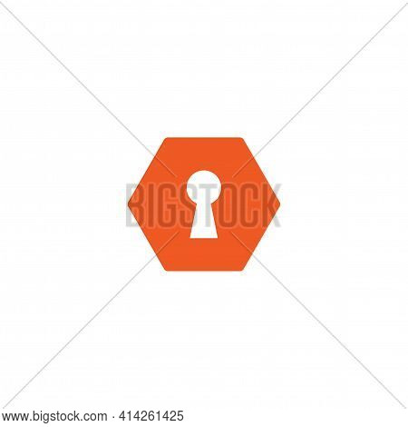 Hey Hole In Red Hexagon Icon. Padlock, Lock Symbol Isolated On White. Flat Vector Illustration. Safe