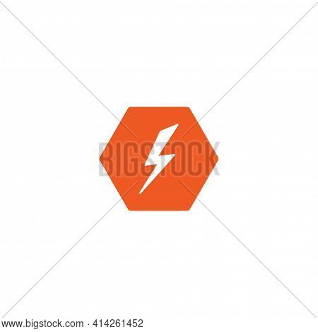 White Lightning Bolt In Red Hexagon. Simple Flat Icon. Storm Or Thunder And Lightning Strike Sign Is