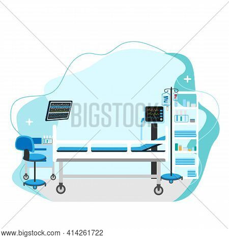 Vector Illustration Of Empty Resuscitation With Hospital Bed, Monitors And Medical Equipment On Abst