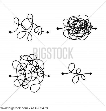 Vector Symbol Of Complicated Way With Scribbled Round Element, Chaos Sign, Pass The Way Linear Arrow