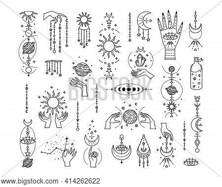 Set Of Mystical Astrological Vector Illustrations. Magic Symbols. Zodiac. Astronomy. Line Art Illust