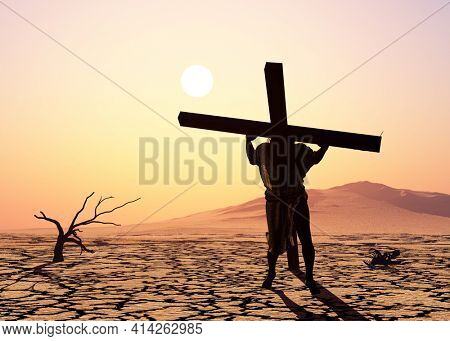 Jesus carries the cross at sunset.,3d render