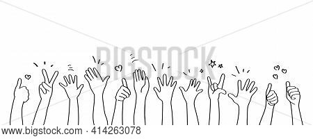 Applause Hand Drawn White Background. Vector Illustration.