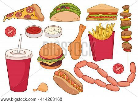 A Collection Of Food Items Such As Pizza, Thick Sausages, Hamburger, Kebab, Sandwich And More. For R