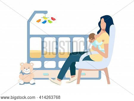 Vector Illustration Of A Happy Young Mother Breastfeeding Her Baby In A Chair Next To The Baby Bed.