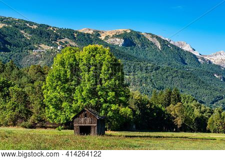 Landscape View Of The Mountains Around Le Bourg D'oisans In Auvergne-rhone-alpes, France