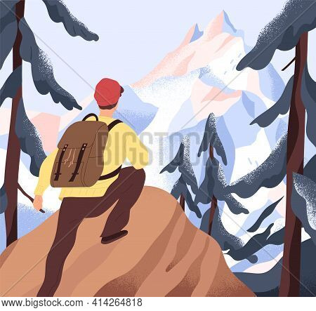 Aspiration To Horizons, Goals And Discoveries Concept. Backpacker Climbing On Top Of Mountains. Pers