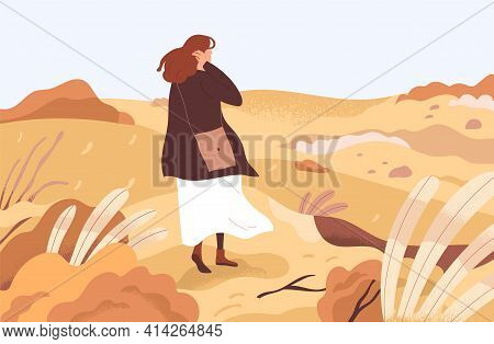 Lost Confused Person Wandering Alone Through Her Ruined Life. Concept Of Exploring Unknown Areas, Be