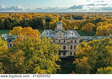 Aerial View Of The Facade Of The Znamenka Palace-estate On A Sunny Autumn Day.znamensky Palace In Pe