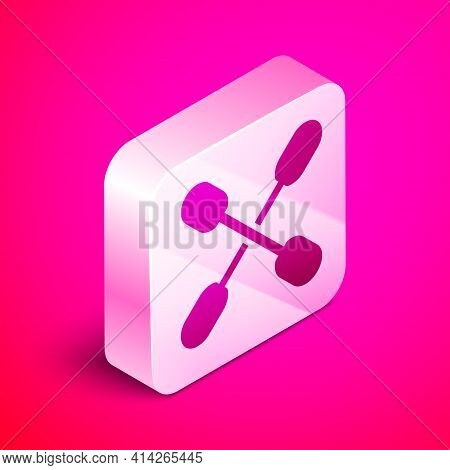 Isometric Cotton Swab For Ears Icon Isolated On Pink Background. Silver Square Button. Vector