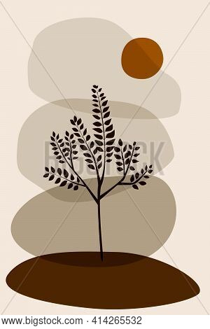 Shape Green Boho Leaf Plant Sun Minimalist Printed Wall Art Geometric Abstract Print Bohemian Art Wo