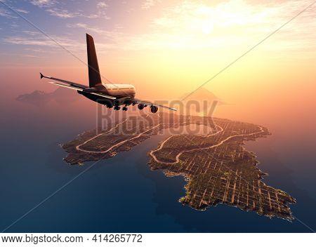 Passenger airplane over the landscape.,3d render