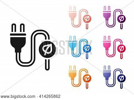 Black Electric Saving Plug In Leaf Icon Isolated On White Background. Save Energy Electricity. Envir