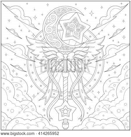 Fantasy Star And Moon Key With Ribbon, Adult And Kid Coloring Page In Stylish Vector Illustration Fo