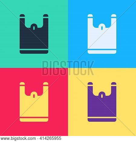 Pop Art Plastic Bag Icon Isolated On Color Background. Disposable Cellophane And Polythene Package P