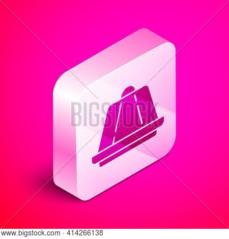 Isometric Pudding Custard With Caramel Glaze Icon Isolated On Pink Background. Silver Square Button.