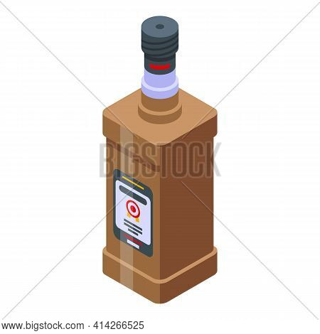 Rum Bourbon Icon. Isometric Of Rum Bourbon Vector Icon For Web Design Isolated On White Background