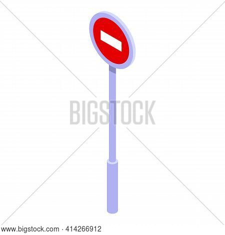 Stop Road Indicator Icon. Isometric Of Stop Road Indicator Vector Icon For Web Design Isolated On Wh