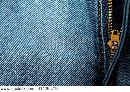 Denim With Zipper. Background On The Theme Of Denim Clothing.
