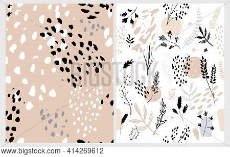 Hand Drawn Irregular Floral Vector Patterns With White Sketched Twigs And Flowers Isolated On A Whit