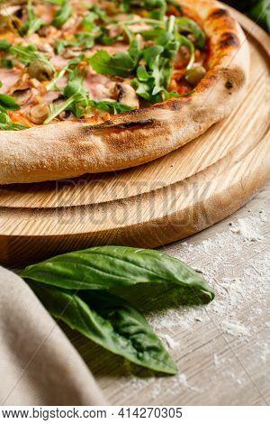 Crispy Crust Of Italian Pizza Close Up.