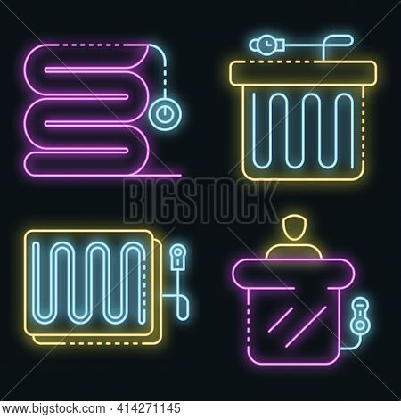 Electric Blanket Icons Set. Outline Set Of Electric Blanket Vector Icons Neon Color On Black
