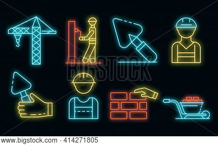 Masonry Worker Icons Set. Outline Set Of Masonry Worker Vector Icons Neon Color On Black