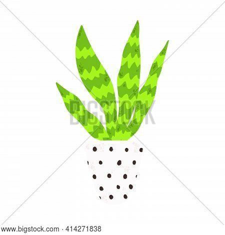 Colorful Single Houseplants In Pot. Vector Illustrations Of Indoor Cactus In Flowerpot. Indoor Plant