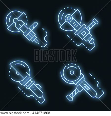 Angle Grinder Icons Set. Outline Set Of Angle Grinder Vector Icons Neon Color On Black