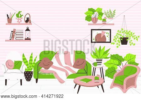 Cozy Interior Of Living Room In Scandinavian Style. Horizontal Banner. Concept Stay At Home. Vector
