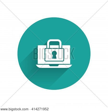 White Laptop And Lock Icon Isolated With Long Shadow. Computer And Padlock. Security, Safety, Protec