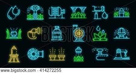 Irrigation System Icons Set. Outline Set Of Irrigation System Vector Icons Neon Color On Black