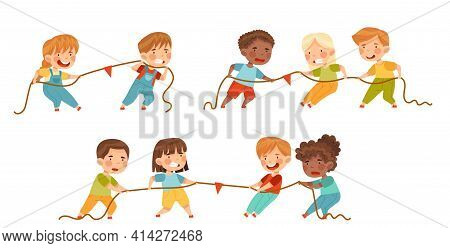 Little Kids Playing Tug Of War Or Rope Pulling Testing Strength Vector Set