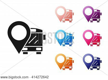 Black Location With Bus Icon Isolated On White Background. Transportation Concept. Bus Tour Transpor