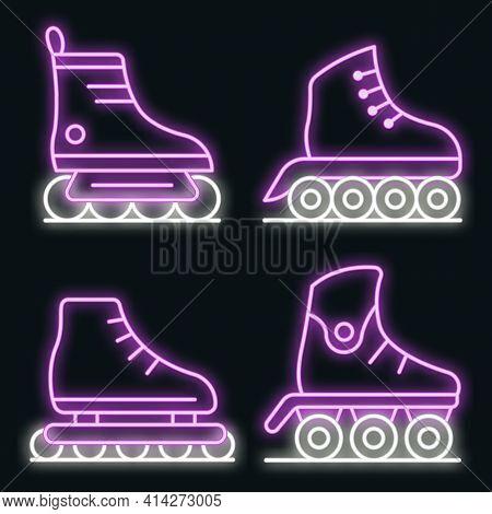 Inline Skates Icons Set. Outline Set Of Inline Skates Vector Icons Neon Color On Black