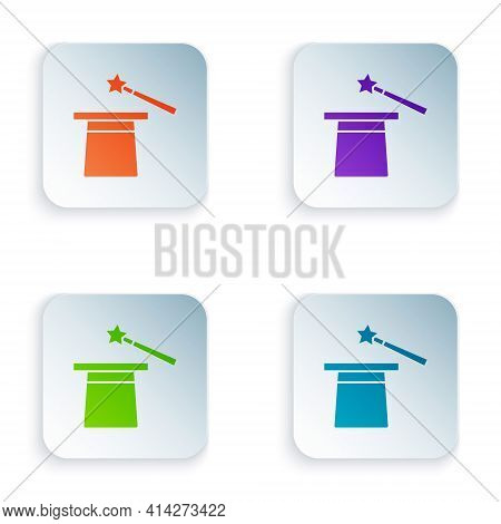 Color Magic Hat And Wand Icon Isolated On White Background. Magic Trick. Mystery Entertainment Conce
