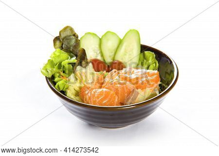 Japanese Salad With Premium Fresh Raw Salmon. Asian Salad With Tofu And Fresh Vegetables, Thin Slice