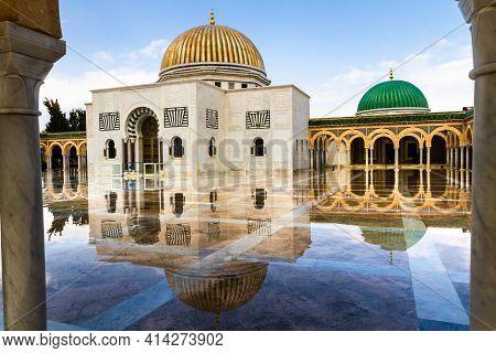 Religious Building In Tunisia Mausoleum Of Habib Bourguiba After The Rain. Monastir, Tunisia, Africa
