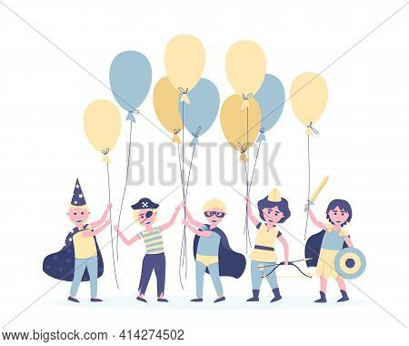 Boys with balloons in carnival costumes for their birthday. To participate in the holiday, the friends changed into the costumes of the heroes. Postcard in blue. Flat vector illustration.