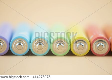 Close Up Colorful Rows Of Selection Of Aaa Batteries. Alkaline Battery Aaa Size.