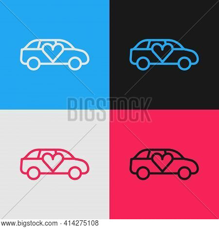 Pop Art Line Luxury Limousine Car Icon Isolated On Color Background. For World Premiere Celebrities