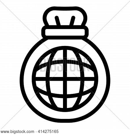 Global Charity Icon. Outline Global Charity Vector Icon For Web Design Isolated On White Background