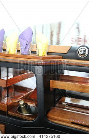 Old And Empty Limousine Bar Interior As Wooden Background