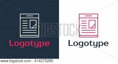 Logotype Line Newspaper Advertisement Displaying Obituaries Icon Isolated On White Background. Logo