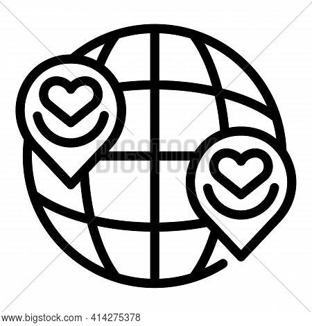 Social Charity Global Icon. Outline Social Charity Global Vector Icon For Web Design Isolated On Whi