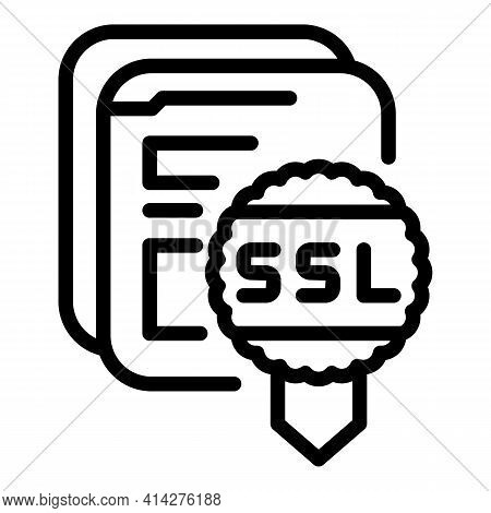 Ssl Emblem Icon. Outline Ssl Emblem Vector Icon For Web Design Isolated On White Background