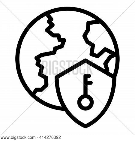 Global Ssl Security Icon. Outline Global Ssl Security Vector Icon For Web Design Isolated On White B